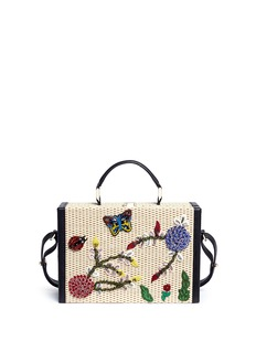 alice + olivia 'Insects Sydney' embellished basketweave straw trunk