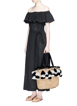 Figure View - Click To Enlarge - alice + olivia - 'Sally' pompom straw tote