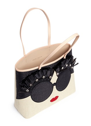 - alice + olivia - 'Stace Face' embellished straw tote
