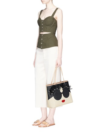 Figure View - Click To Enlarge - alice + olivia - 'Stace Face' embellished straw tote