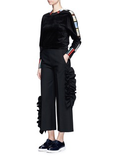 MSGM Asymmetic ruffle trim cropped wide leg pants
