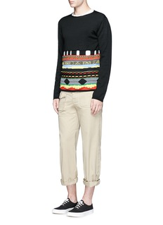 Comme Des Garçons Shirt Mix pattern cutout wool blend sweater