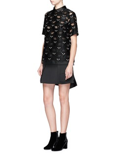 Giamba Satin collar cat jacquard top
