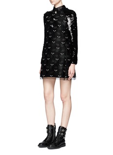 Giamba Cat embroidered organza dress