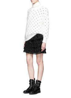 Giamba Dot embroidered angora wool blend turtleneck sweater
