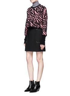 Giamba Leopard intarsia mohair blend cropped sweater