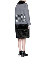 Check ribbon wool-cashmere faux fur coat