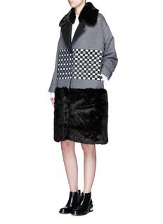 Cynthia & XiaoCheck ribbon wool-cashmere faux fur coat