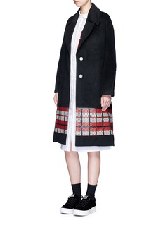 CYNTHIA & XIAO Textured tartan felted wool-cashmere coat