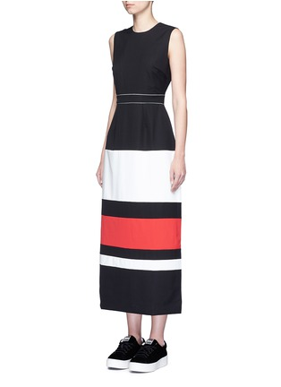 Figure View - Click To Enlarge - Cynthia & Xiao - Contrast stripe split back maxi dress