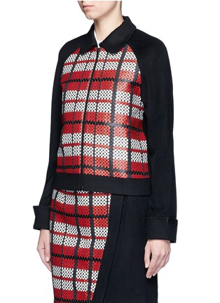 Front View - Click To Enlarge - Cynthia & Xiao - Textured tartan felted wool-cashmere jacket