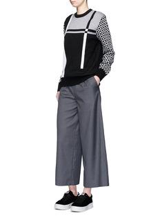 Cynthia & XiaoCheck colourblock Merino wool sweater
