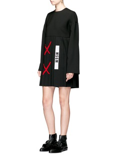 MSGM Cross patch pleated dress