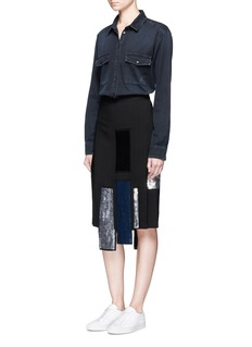 MSGM Sequin stripe appliqué crepe skirt
