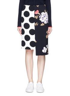 MSGMPolka dot and rose print crepe skirt