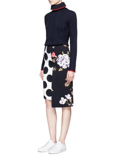 MSGM Polka dot and rose print crepe skirt