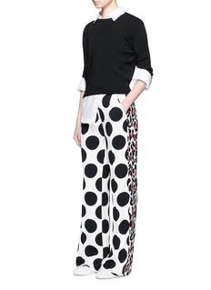MSGMLeopard stripe polka dot print crepe pants