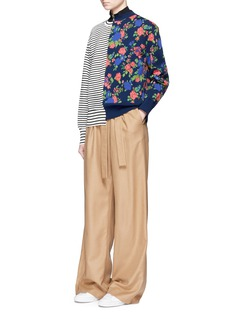 MSGM Rose intarsia and stripe panelled sweater