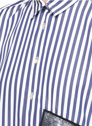 Detail View - Click To Enlarge - MSGM - Stripe sequin patch poplin shirt