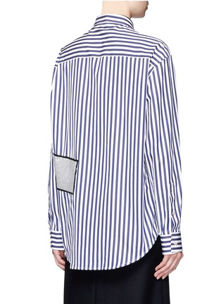 Back View - Click To Enlarge - MSGM - Stripe sequin patch poplin shirt
