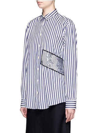 Front View - Click To Enlarge - MSGM - Stripe sequin patch poplin shirt