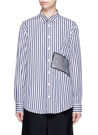 Main View - Click To Enlarge - MSGM - Stripe sequin patch poplin shirt