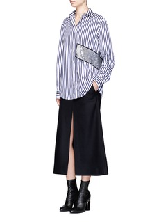 MSGM Stripe sequin patch poplin shirt