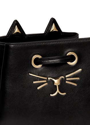 Charlotte Olympia - 'Feline' catface calfskin leather bucket bag