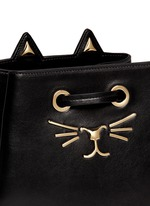 'Feline' catface calfskin leather bucket bag