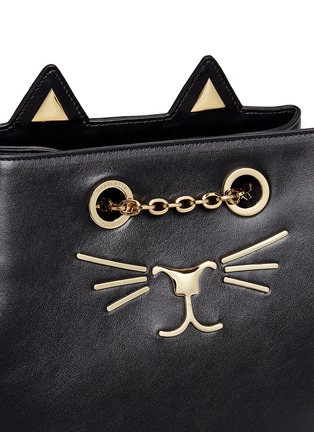 Detail View - Click To Enlarge - Charlotte Olympia - 'Feline' cat face chain calfskin leather backpack