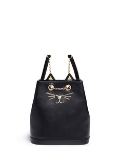 Charlotte Olympia'Feline' cat face chain calfskin leather backpack