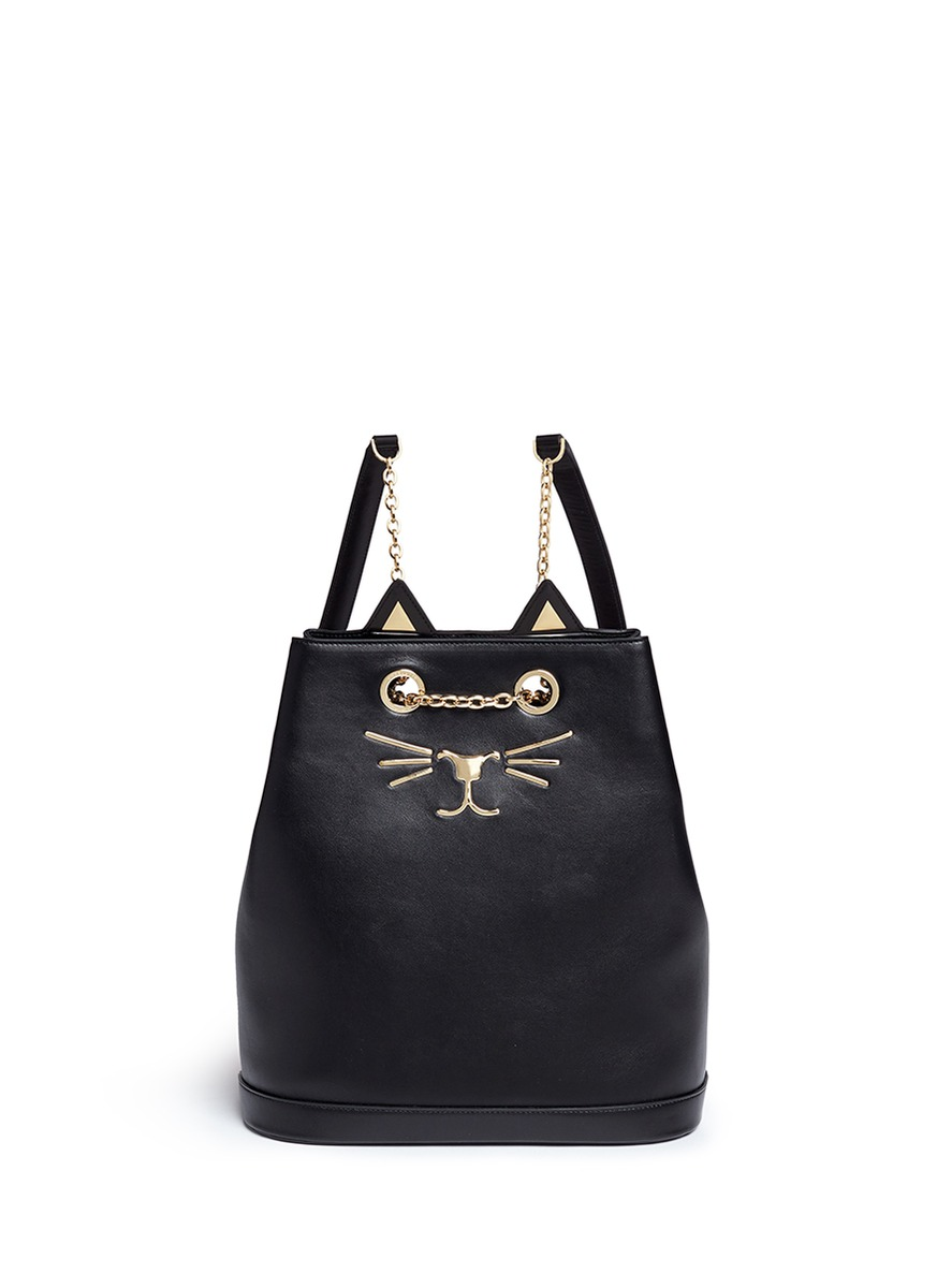 Feline cat face chain calfskin leather backpack by Charlotte Olympia