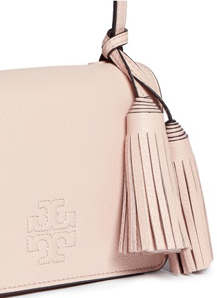 Detail View - Click To Enlarge - Tory Burch - Thea Mini' pebbled leather crossbody tassel bag
