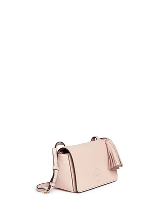 Front View - Click To Enlarge - Tory Burch - Thea Mini' pebbled leather crossbody tassel bag