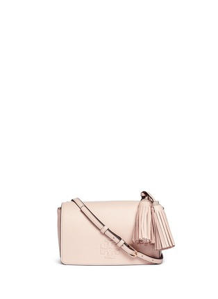 Main View - Click To Enlarge - Tory Burch - Thea Mini' pebbled leather crossbody tassel bag