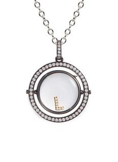 Loquet London18k black gold diamond revolving round locket – 22mm