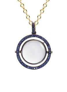Loquet London18k black gold sapphire revolving round locket – 22mm