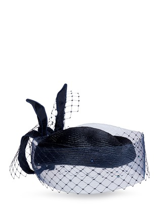 Piers Atkinson - Crin veil flying bow straw percher hat
