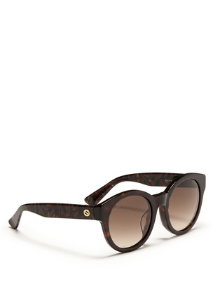 Figure View - Click To Enlarge - Gucci - Confetti inlay temple tortoiseshell effect acetate sunglasses