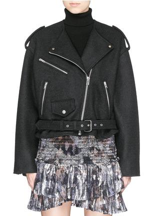 Main View - Click To Enlarge - Isabel Marant - 'Audril' wool felt biker jacket