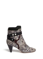 'Raya' ikat print snakeskin effect leather ankle boots