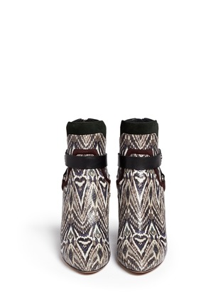 Figure View - Click To Enlarge - Isabel Marant - 'Raya' ikat print snakeskin effect leather ankle boots