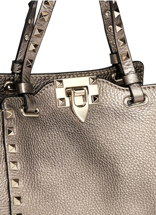 Detail View - Click To Enlarge - Valentino - 'Rockstud' mini metallic leather tote