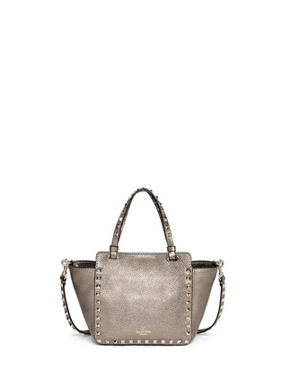 Back View - Click To Enlarge - Valentino - 'Rockstud' mini metallic leather tote