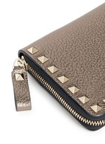 'Rockstud' metallic leather zip continental wallet