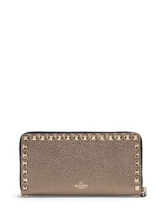 VALENTINO 'Rockstud' metallic leather zip continental wallet