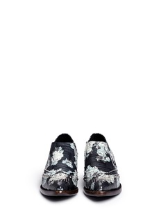 ASH'Trinity' flower print croc effect leather booties