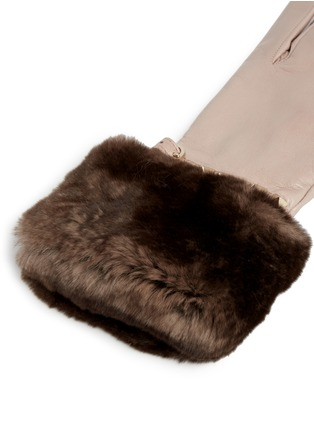 Detail View - Click To Enlarge - Valentino - 'Rockstud' strap Orylag fur trim leather gloves