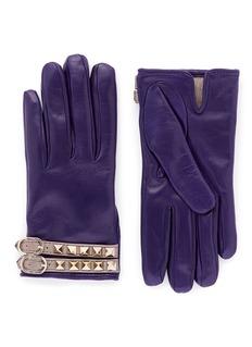 VALENTINO'Rockstud' strap leather gloves