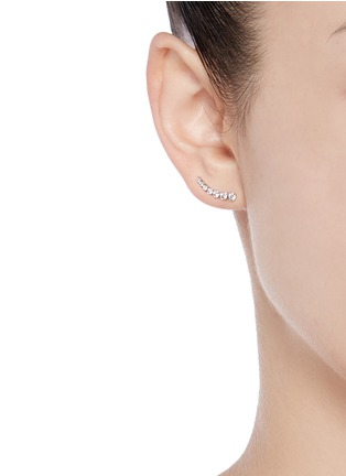 Figure View - Click To Enlarge - Sophie Bille Brahe - 'Petite Croissant de Lune' diamond 18k white gold single earring